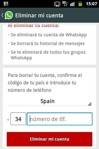 Eliminar cuenta de WhatsApp para Android