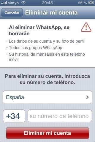 Eliminar cuenta de WhatsApp para iPhone