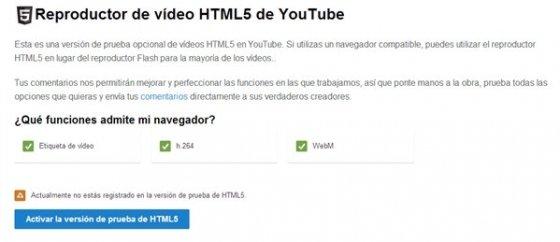 Activar HTML5 en YouTube