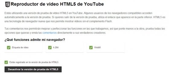 Desactivar HTML5 en YouTube