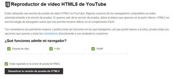 Desactivar HTML5 en YouTube