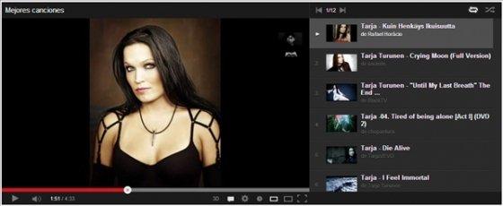 Lista de reproducción en YouTube HTML5