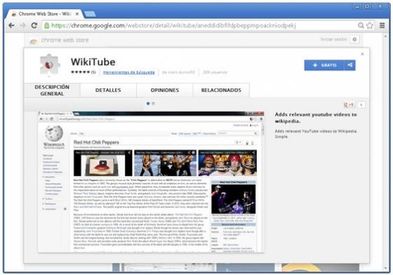 WikiTube visto en la Chrome Web Store