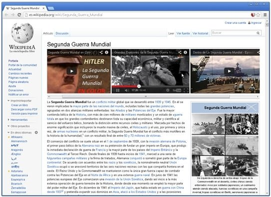 WikiTube en acción en un artículo de la Wikipedia