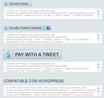Botones y códigos generados por Pay with a Tweet para tu contenido