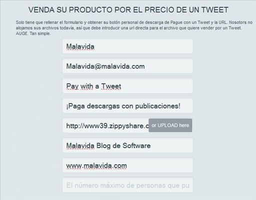 Portada de la web Pay with a Tweet