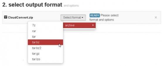 Selección del nuevo formato de archivo