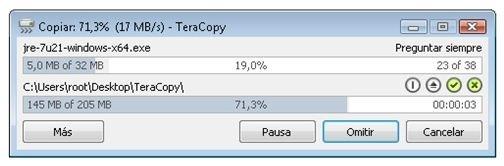 TeraCopy copiando archivos entre directorios