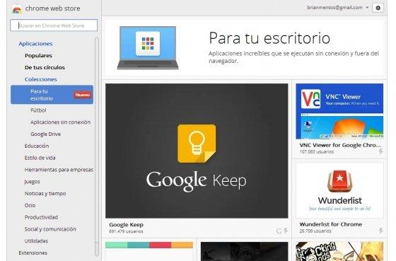 Aplicaciones en Chrome Web Store