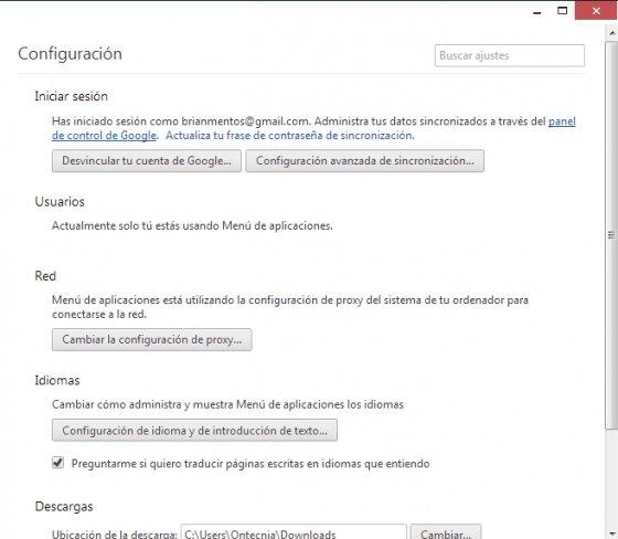 Configuración del lanzador de aplicaciones de Chrome