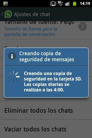 Crear copia de seguridad de las conversaciones de WhatsApp