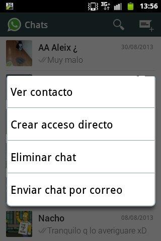 Enviar por correo las conversaciones de WhatsApp