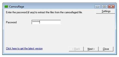Introducción de una clave de seguridad para descamuflar el archivo oculto