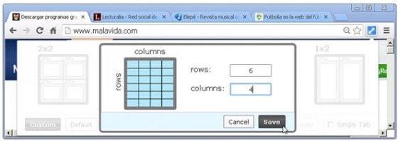 Plantilla de Tab Resize personalizada por el usuario