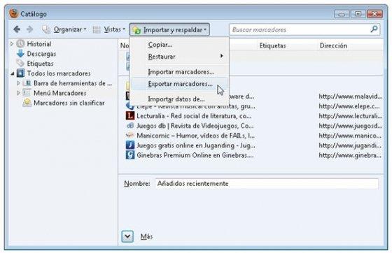 Opción para exportar marcadores de Firefox