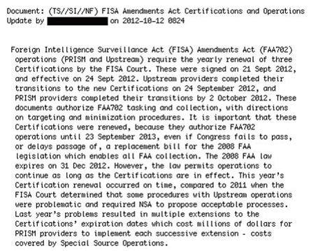 Documento que deja entrever el supuesto pago de la NSA a empresas tecnológicas