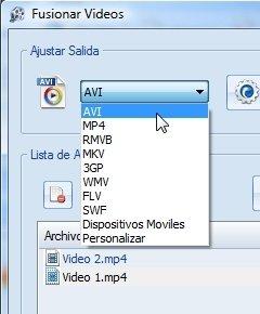 Ajustes de salida en la fusión de vídeos con Format Factory