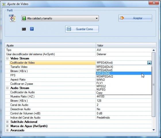 Configuración de la salida de audio en la fusión de vídeos con Format Factory