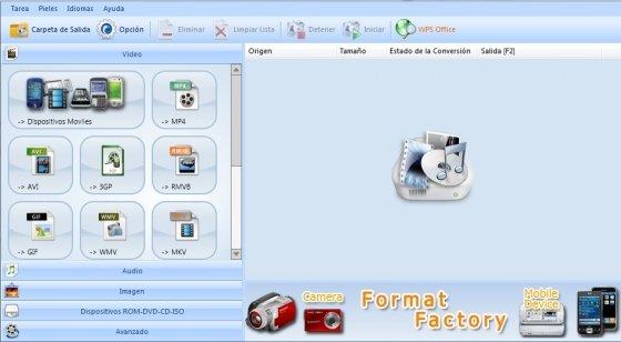 Menú de conversión de archivos de Format Factory