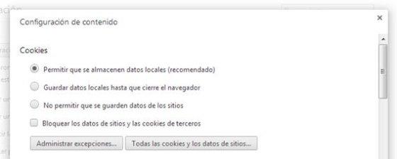 Opción para activar cookies en Chrome