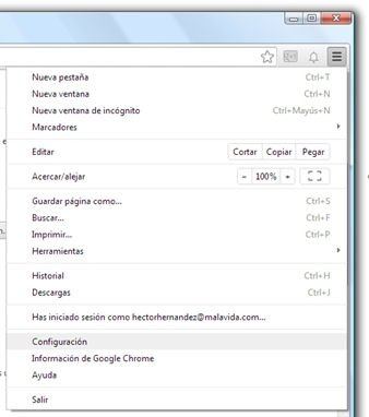 Acceso hasta la configuración de Chrome