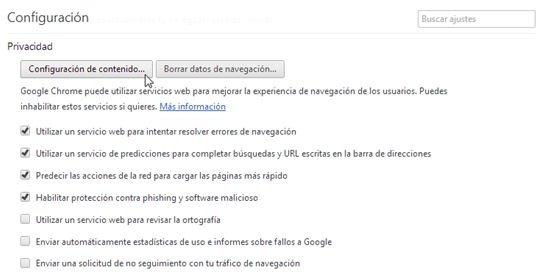 Acceso hasta la configuración de contenido de Chrome