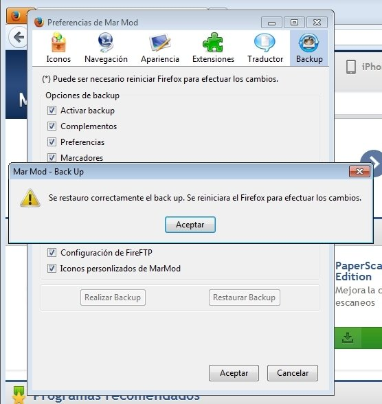 Reinicio de Firefox para cargar la ocnfiguración