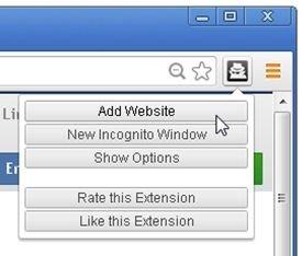 Opción para añadir páginas web al listado de Incognite-Filter