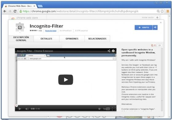 Extensión Incognito-Filter en la Chrome Web Store