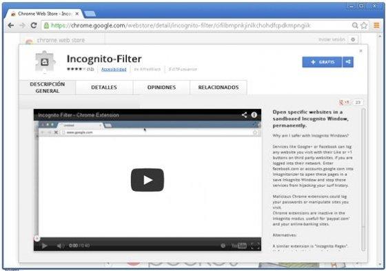 Extensión Incognito-Filter en la Chrome Web Store