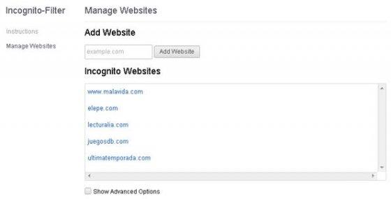 Listado personalizado de páginas web que usan Incognite-Filter