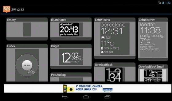 Algunos modelos de widgets disponibles