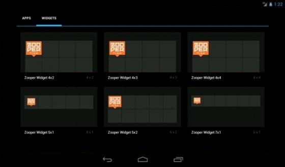 Selección de las distintas plantillas para widgets