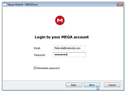Introducir los datos de registro de la cuenta de MEGA