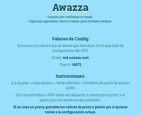 Instrucciones de configuración de Awazza en el terminal móvil