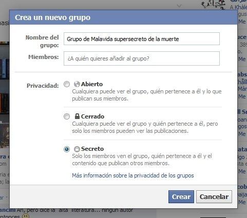 Configuración del nivel de privacidad de los grupos de Facebook