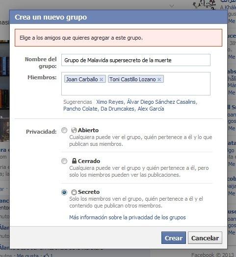 Invitación de contactos de Facebook