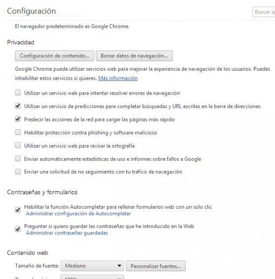 Opciones avanzadas en el menú de configuración de Google Chrome