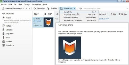 Crear nueva nota Evernote