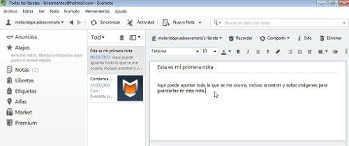 Escribir nueva nota Evernote