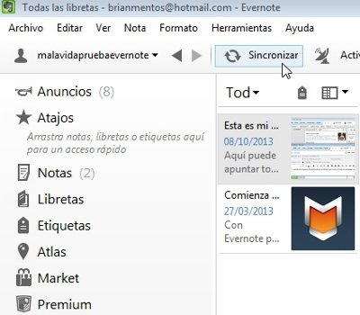 Sincronizar Evernote