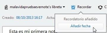 Añadir recordatorio Evernote