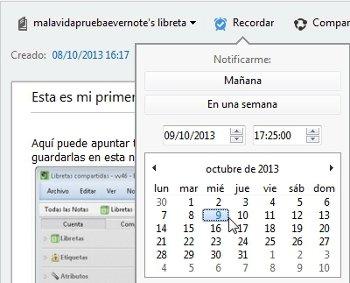 Añadir fecha recordatorio Evernote
