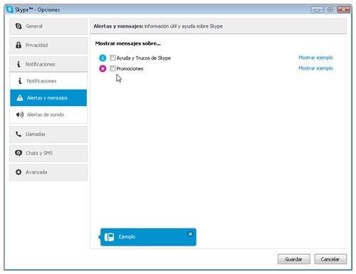 Menú de notificaciones de Skype