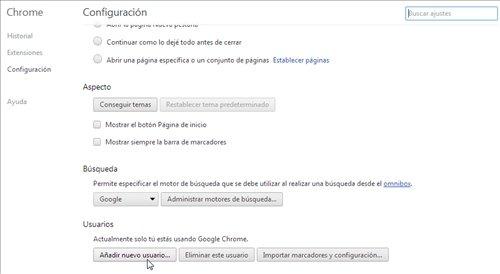 Nuevo usuario Chrome