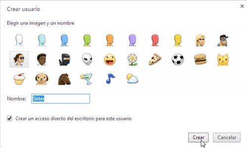 Nuevo usuario Chrome nombre