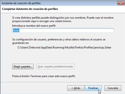 Asistente creación de perfiles Firefox