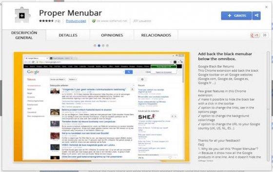 Proper Menubar en la Chrome Web Store