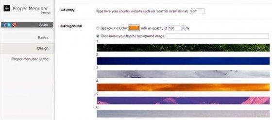 Seleccion del color o imagen de fondo para Proper Menubar