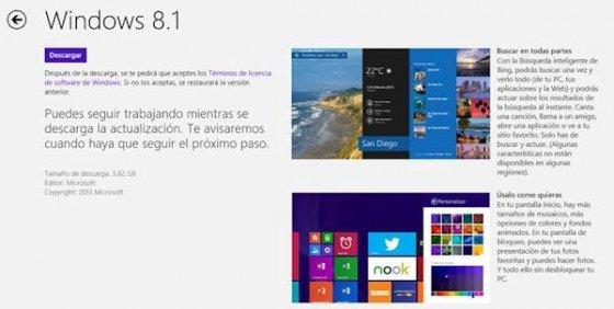 Ventana para descargar Windows 8.1 en Windows Store